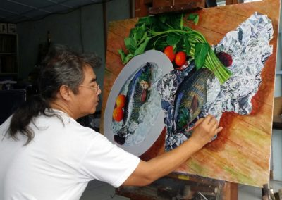 Cee Cadid in his studio in action