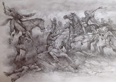 """Tony Leyco - Battle at the Little Big Horn 8"""" x10"""" Pencil Rendering"""