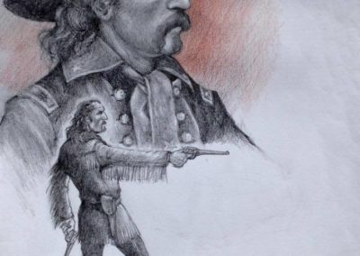 """Tony Leyco - Pencil Sketch of Gen. Custers last stand at the Battle of Little Big Horn 8"""" x 10"""""""